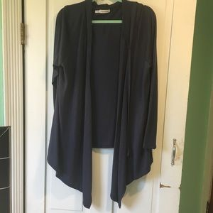 Maurices 2x Navy Hooded Cardigan